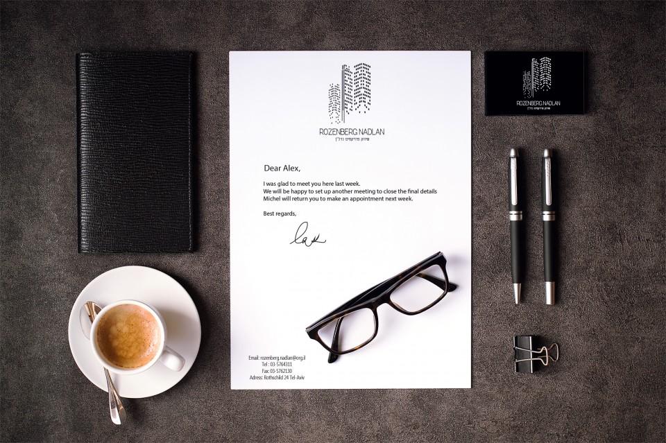 עיצוב חומרי מכירה: עיצוב כרטיסי ביקור דו צדדי, עיצוב ניירת משרדית דף A4 ומעטפות.